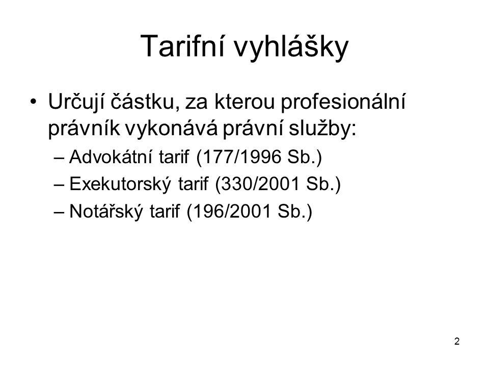 2 Tarifní vyhlášky Určují částku, za kterou profesionální právník vykonává právní služby: –Advokátní tarif (177/1996 Sb.) –Exekutorský tarif (330/2001