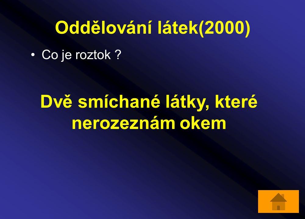 Oddělování látek(2000) Co je roztok ? Dvě smíchané látky, které nerozeznám okem