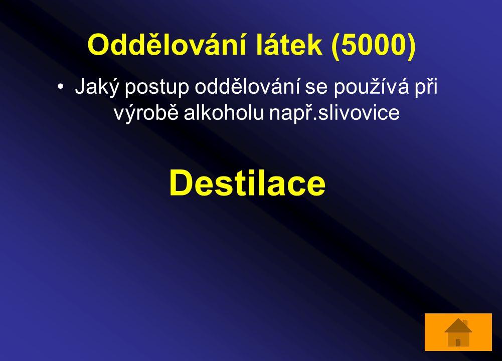 Oddělování látek (5000) Jaký postup oddělování se používá při výrobě alkoholu např.slivovice Destilace