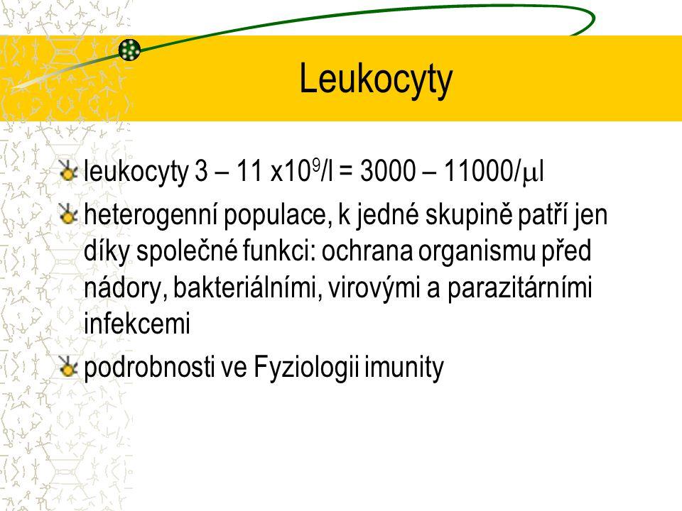 Leukocyty leukocyty 3 – 11 x10 9 /l = 3000 – 11000/  l heterogenní populace, k jedné skupině patří jen díky společné funkci: ochrana organismu před n