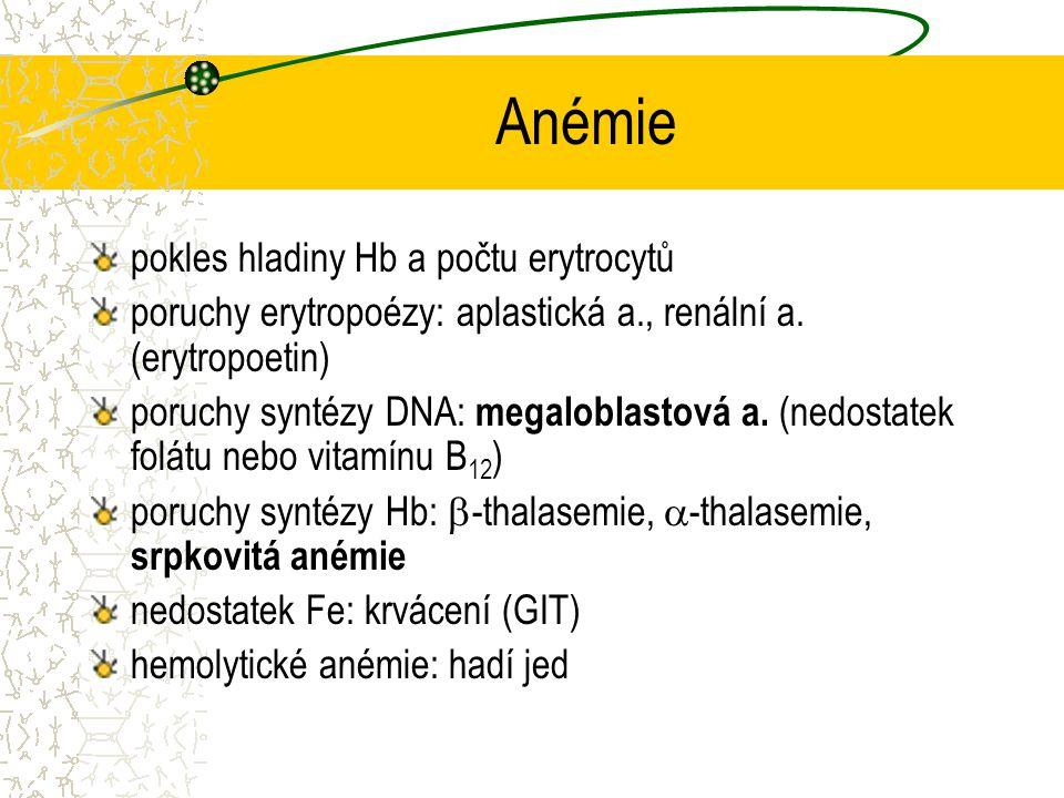Anémie pokles hladiny Hb a počtu erytrocytů poruchy erytropoézy: aplastická a., renální a. (erytropoetin) poruchy syntézy DNA: megaloblastová a. (nedo