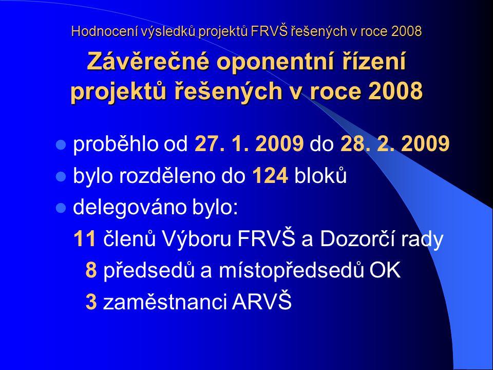 Hodnocení výsledků projektů FRVŠ řešených v roce 2008 Závěrečné oponentní řízení projektů řešených v roce 2008 proběhlo od 27.