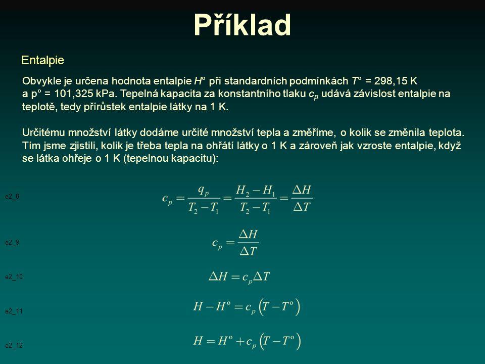 Příklad Obvykle je určena hodnota entalpie H° při standardních podmínkách T° = 298,15 K a p° = 101,325 kPa. Tepelná kapacita za konstantního tlaku c p