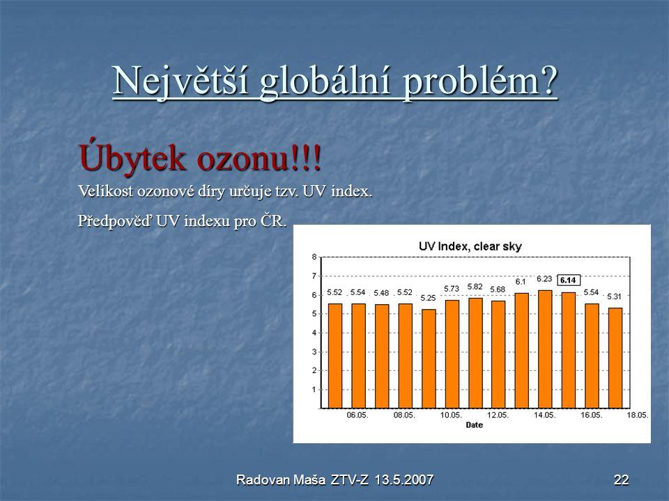Radovan Maša ZTV-Z 13.5.200722 Největší globální problém? Úbytek ozonu!!! Velikost ozonové díry určuje tzv. UV index. Předpověď UV indexu pro ČR.