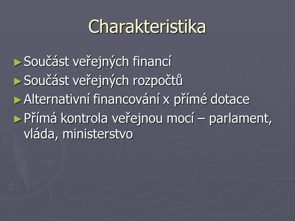 Charakteristika ► Součást veřejných financí ► Součást veřejných rozpočtů ► Alternativní financování x přímé dotace ► Přímá kontrola veřejnou mocí – parlament, vláda, ministerstvo