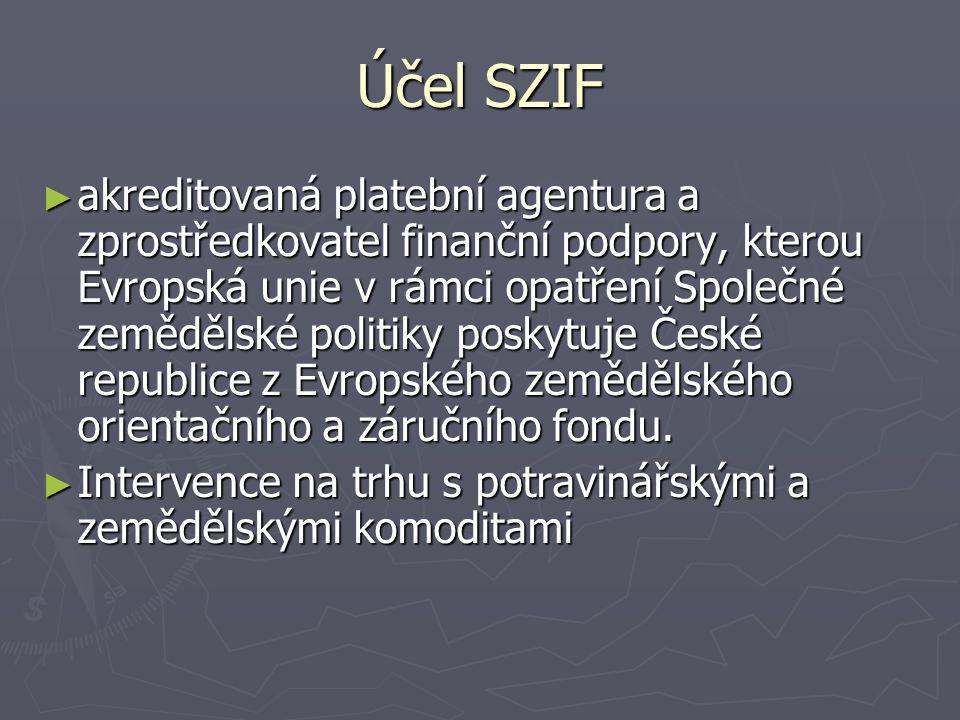 Účel SZIF ► akreditovaná platební agentura a zprostředkovatel finanční podpory, kterou Evropská unie v rámci opatření Společné zemědělské politiky poskytuje České republice z Evropského zemědělského orientačního a záručního fondu.