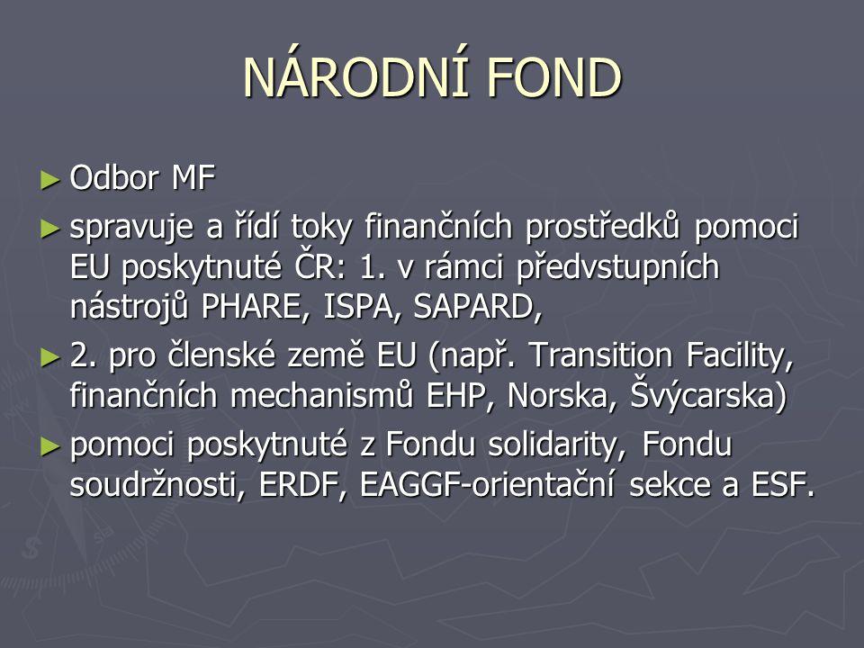 NÁRODNÍ FOND ► Odbor MF ► spravuje a řídí toky finančních prostředků pomoci EU poskytnuté ČR: 1.