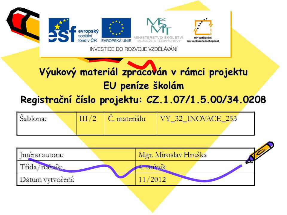 Výukový materiál zpracován v rámci projektu EU peníze školám Registrační číslo projektu: CZ.1.07/1.5.00/34.0208 Šablona:III/2 Č.