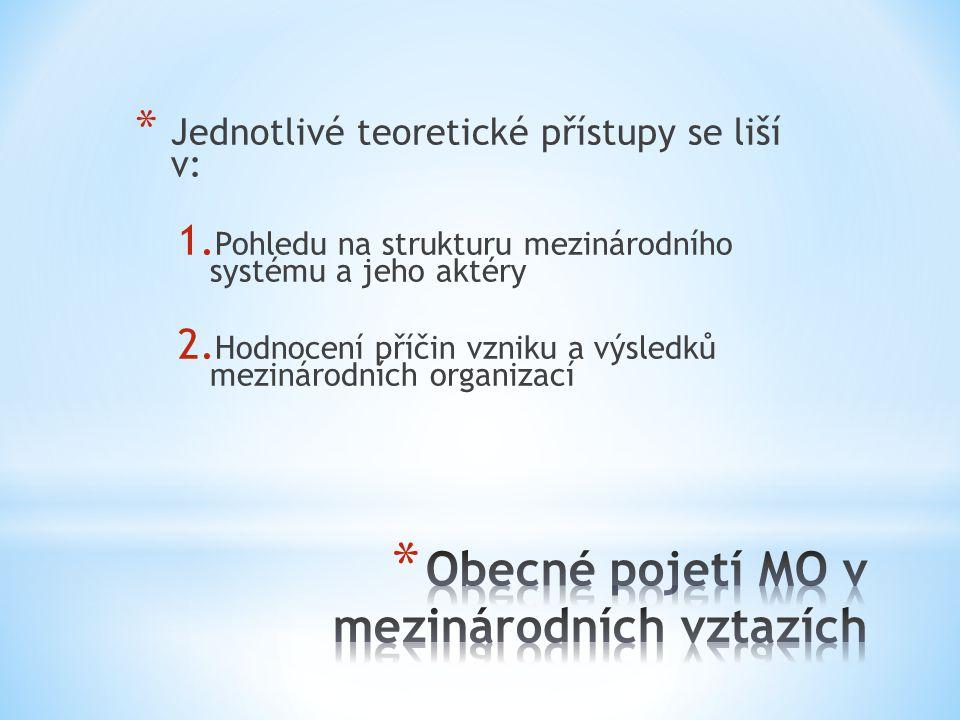 * Jednotlivé teoretické přístupy se liší v: 1. Pohledu na strukturu mezinárodního systému a jeho aktéry 2. Hodnocení příčin vzniku a výsledků mezináro
