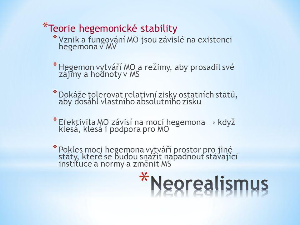 * Teorie hegemonické stability * Vznik a fungování MO jsou závislé na existenci hegemona v MV * Hegemon vytváří MO a režimy, aby prosadil své zájmy a