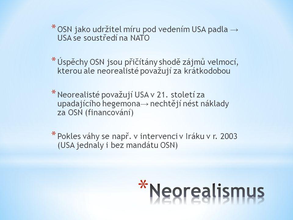 * OSN jako udržitel míru pod vedením USA padla → USA se soustředí na NATO * Úspěchy OSN jsou přičítány shodě zájmů velmocí, kterou ale neorealisté považují za krátkodobou * Neorealisté považují USA v 21.