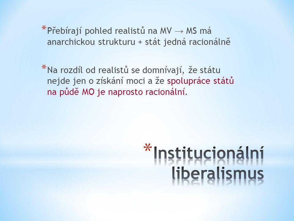 * Přebírají pohled realistů na MV → MS má anarchickou strukturu + stát jedná racionálně * Na rozdíl od realistů se domnívají, že státu nejde jen o získání moci a že spolupráce států na půdě MO je naprosto racionální.