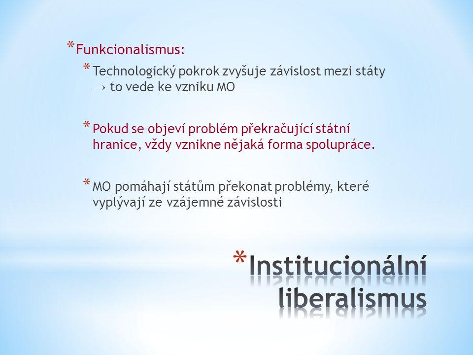 * Funkcionalismus: * Technologický pokrok zvyšuje závislost mezi státy → to vede ke vzniku MO * Pokud se objeví problém překračující státní hranice, vždy vznikne nějaká forma spolupráce.