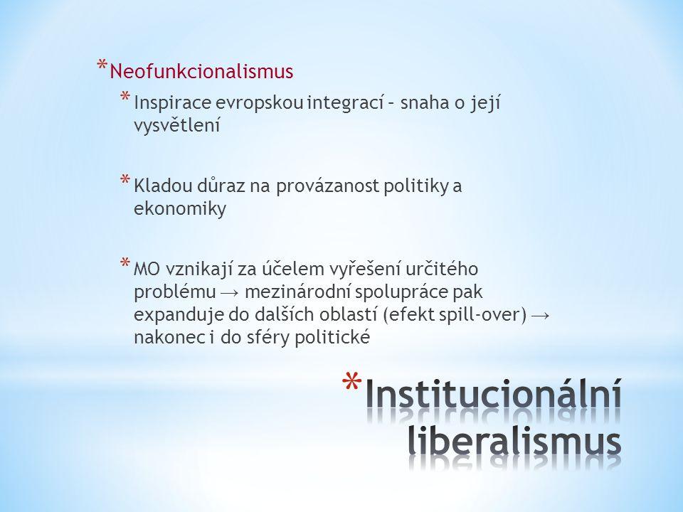 * Neofunkcionalismus * Inspirace evropskou integrací – snaha o její vysvětlení * Kladou důraz na provázanost politiky a ekonomiky * MO vznikají za úče