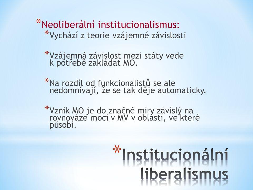 * Neoliberální institucionalismus: * Vychází z teorie vzájemné závislosti * Vzájemná závislost mezi státy vede k potřebě zakládat MO. * Na rozdíl od f