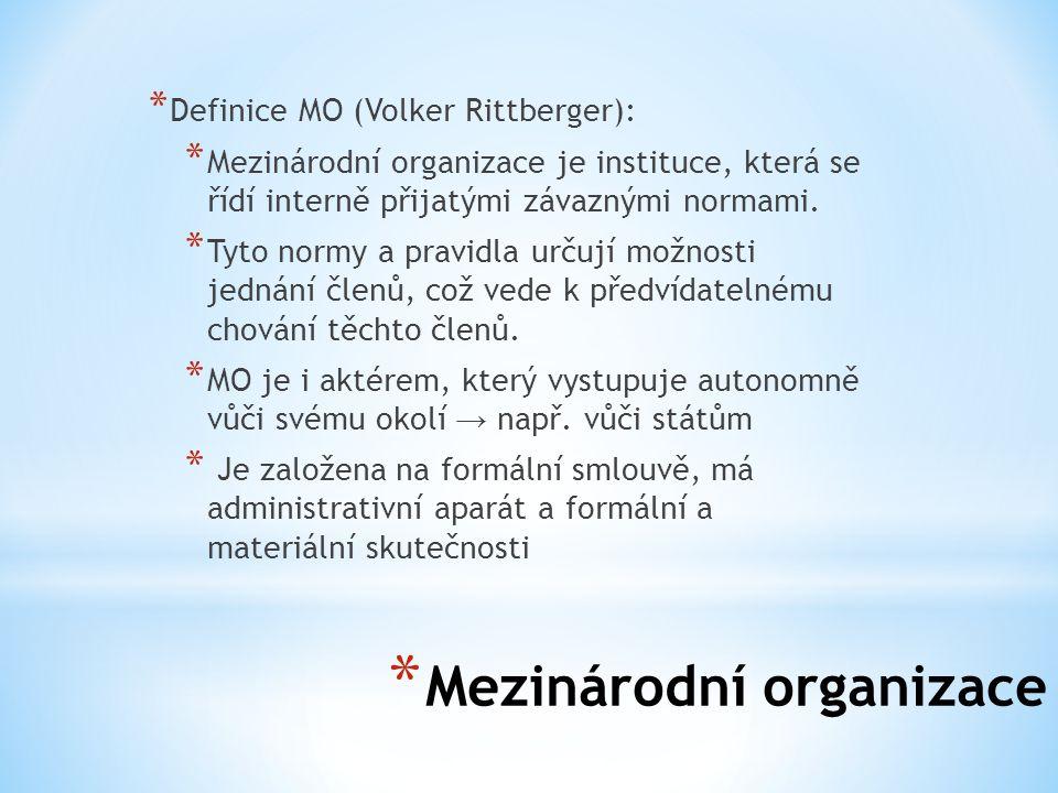 * Mezinárodní organizace * MO se rozlišují na mezinárodní vládní organizace (IGO) a mezinárodní nevládní organizace (INGO).
