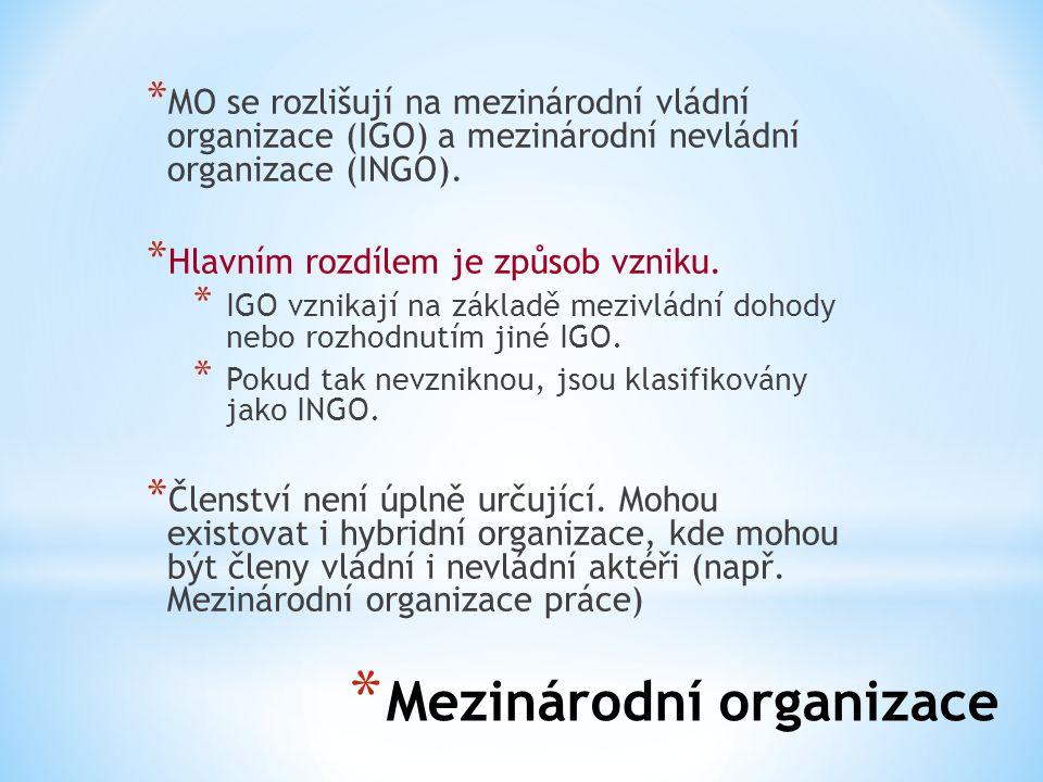 * Mezinárodní organizace * MO se rozlišují na mezinárodní vládní organizace (IGO) a mezinárodní nevládní organizace (INGO). * Hlavním rozdílem je způs