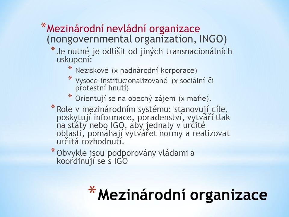 * Mezinárodní organizace * Mezinárodní nevládní organizace (nongovernmental organization, INGO) * Je nutné je odlišit od jiných transnacionálních usku
