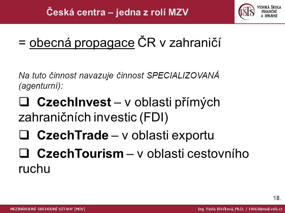 18. Česká centra – jedna z rolí MZV MEZINÁRODNÍ OBCHODNÍ VZTAHY [MOV] Ing.
