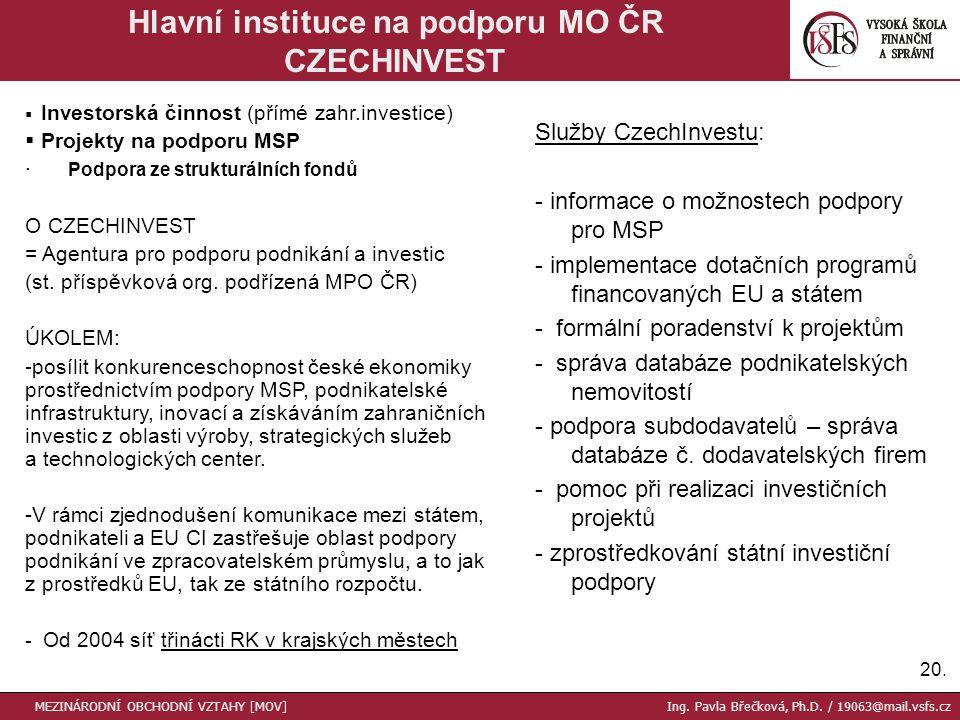 20. Hlavní instituce na podporu MO ČR CZECHINVEST MEZINÁRODNÍ OBCHODNÍ VZTAHY [MOV] Ing.