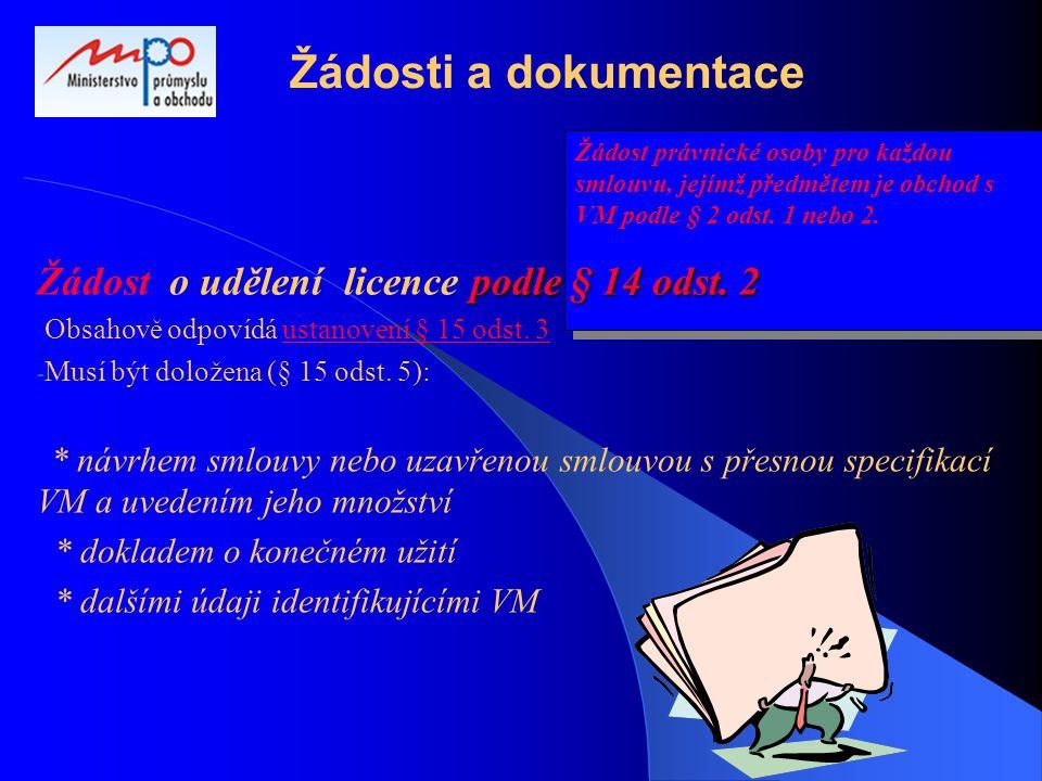 Žádost právnické osoby pro každou smlouvu, jejímž předmětem je obchod s VM podle § 2 odst. 1 nebo 2. Žádosti a dokumentace podle§ 14 odst. 2 Žádost o