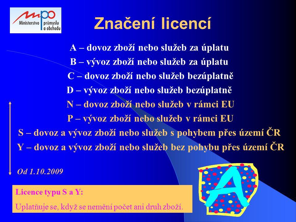 Značení licencí A – dovoz zboží nebo služeb za úplatu B – vývoz zboží nebo služeb za úplatu C – dovoz zboží nebo služeb bezúplatně D – vývoz zboží nebo služeb bezúplatně N – dovoz zboží nebo služeb v rámci EU P – vývoz zboží nebo služeb v rámci EU S – dovoz a vývoz zboží nebo služeb s pohybem přes území ČR Y – dovoz a vývoz zboží nebo služeb bez pohybu přes území ČR Od 1.10.2009 Licence typu S a Y: Uplatňuje se, když se nemění počet ani druh zboží.