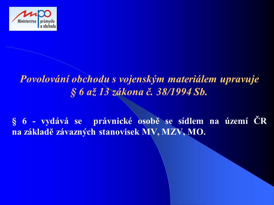 Povolování obchodu s vojenským materiálem upravuje § 6 až 13 zákona č. 38/1994 Sb. § 6 - vydává se právnické osobě se sídlem na území ČR na základě zá