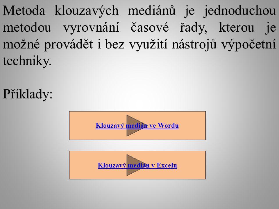 Metoda klouzavých mediánů je jednoduchou metodou vyrovnání časové řady, kterou je možné provádět i bez využití nástrojů výpočetní techniky. Příklady: