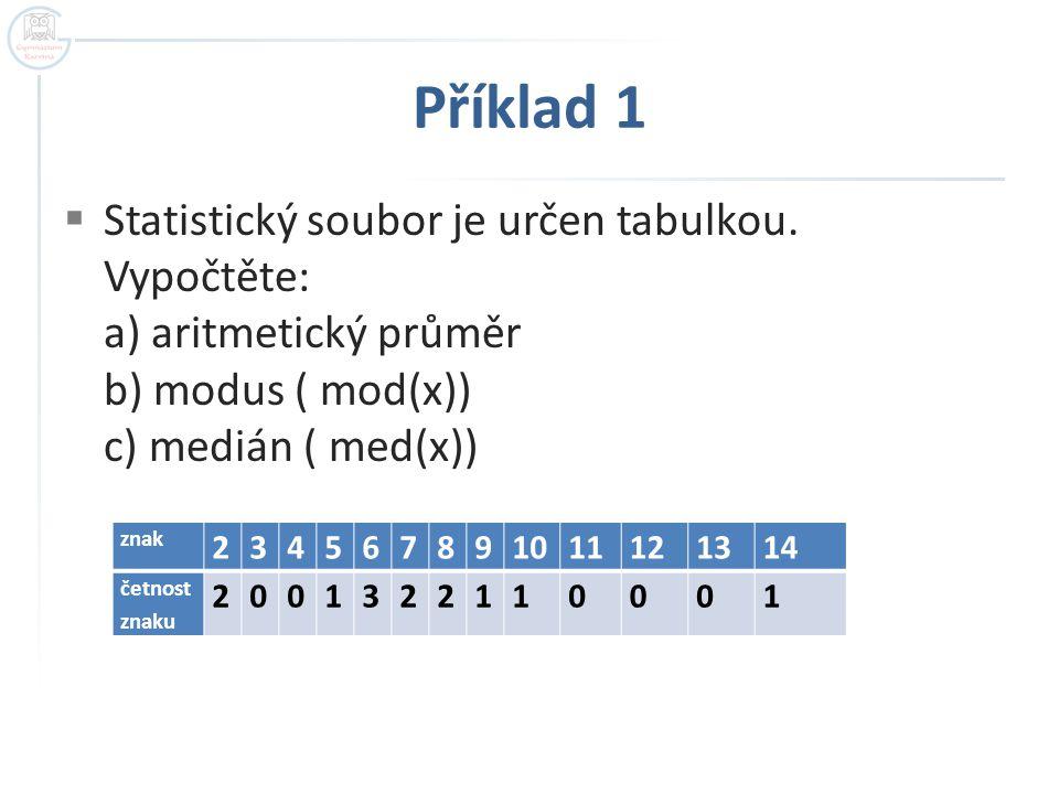 Příklad 1  Modus znaku x, značí se Mod(x), je hodnota x s největší četností.