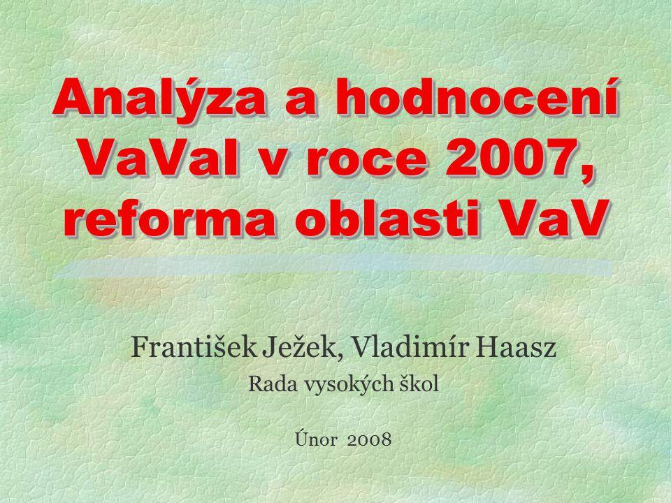 Analýza a hodnocení VaVaI v roce 2007, reforma oblasti VaV František Ježek, Vladimír Haasz Rada vysokých škol Únor 2008
