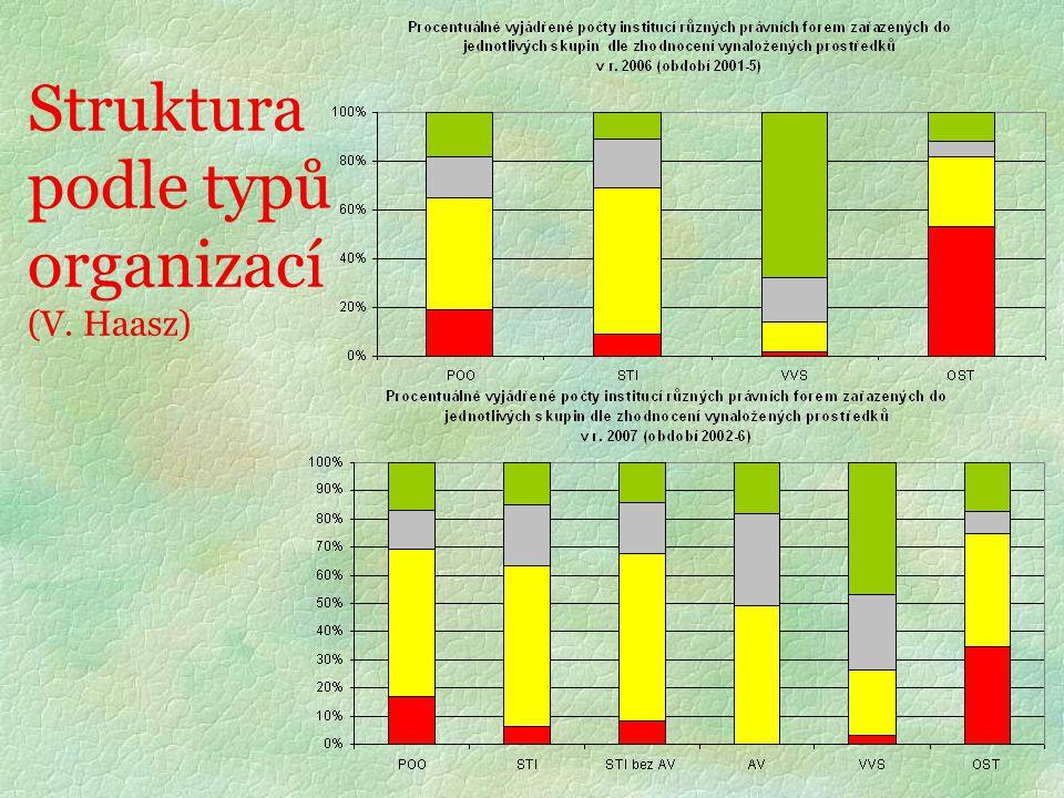 Struktura podle typů organizací (V. Haasz)