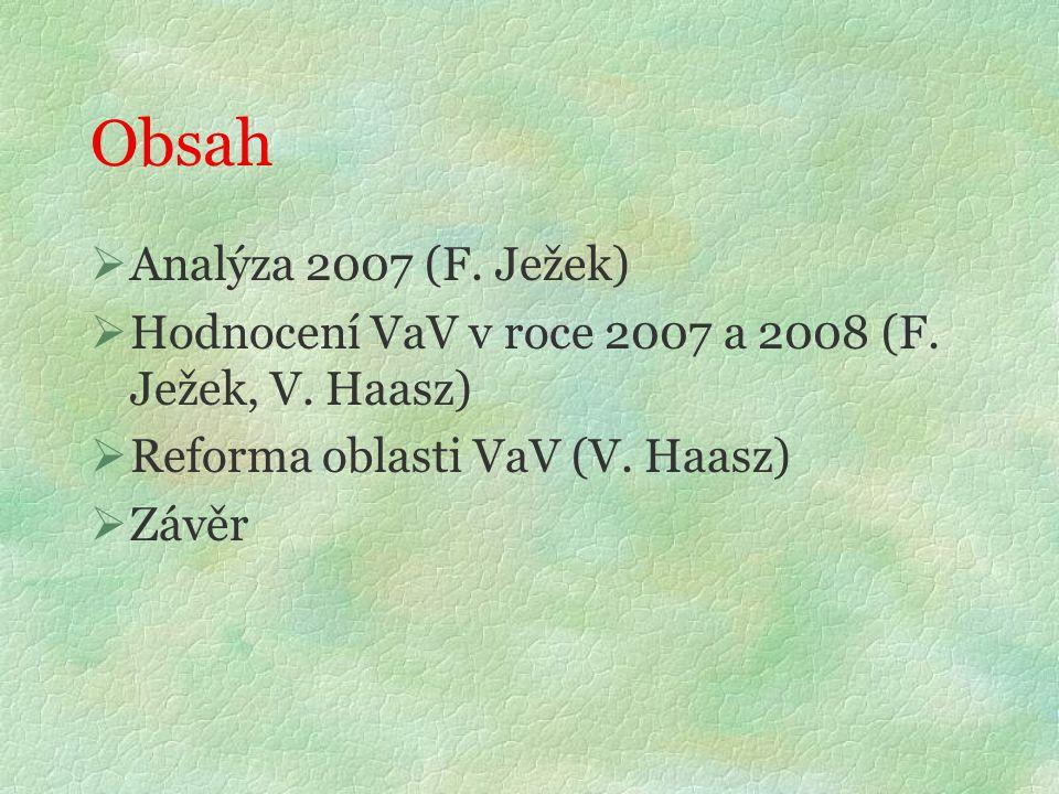 Obsah  Analýza 2007 (F. Ježek)  Hodnocení VaV v roce 2007 a 2008 (F.