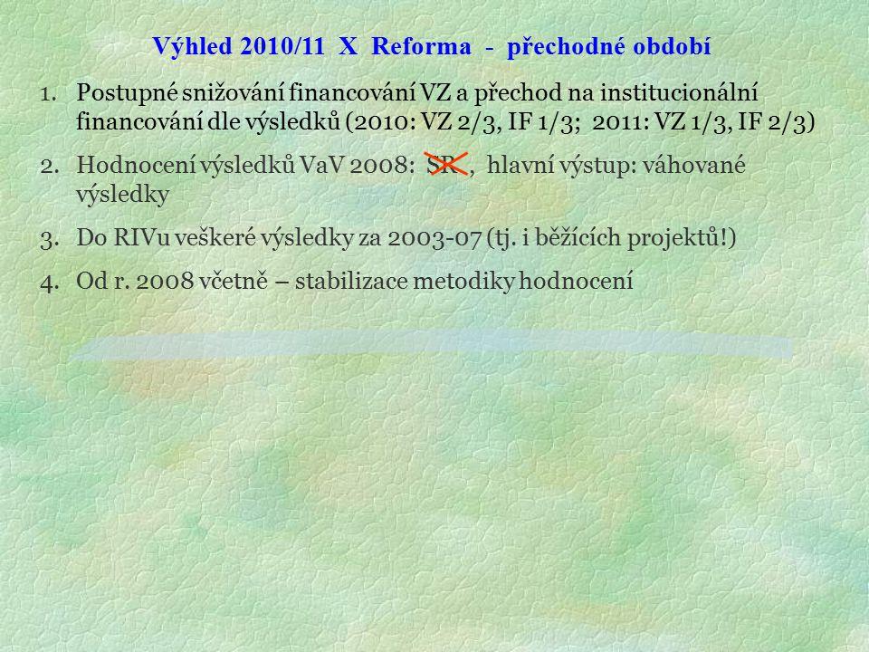 Výhled 2010/11 X Reforma - přechodné období 1.Postupné snižování financování VZ a přechod na institucionální financování dle výsledků (2010: VZ 2/3, IF 1/3; 2011: VZ 1/3, IF 2/3) 2.Hodnocení výsledků VaV 2008: SR, hlavní výstup: váhované výsledky 3.Do RIVu veškeré výsledky za 2003-07 (tj.