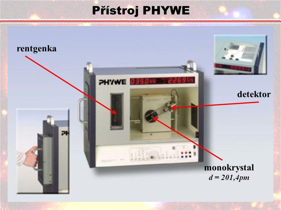 Přístroj PHYWE rentgenka detektor monokrystal d = 201,4pm