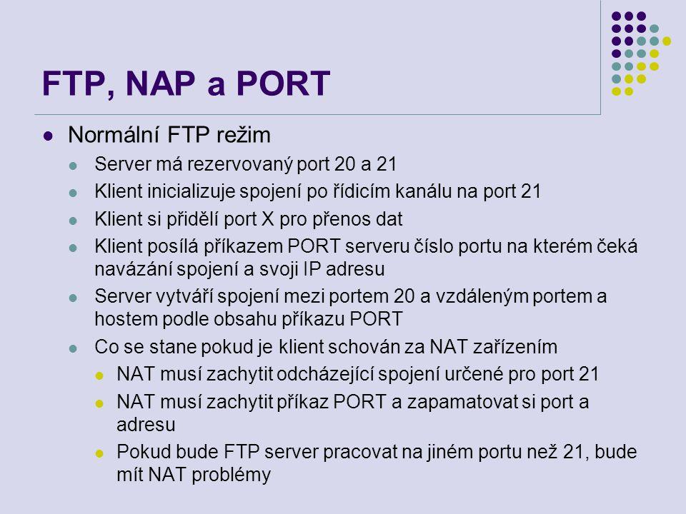 FTP, NAP a PORT Normální FTP režim Server má rezervovaný port 20 a 21 Klient inicializuje spojení po řídicím kanálu na port 21 Klient si přidělí port