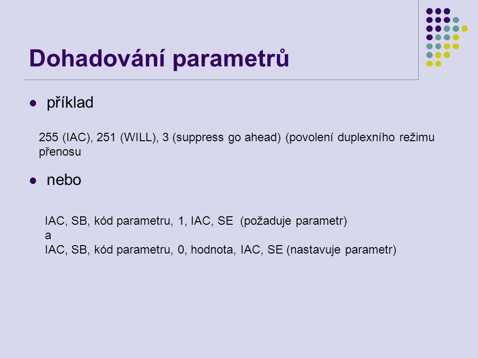 Dohadování parametrů příklad 255 (IAC), 251 (WILL), 3 (suppress go ahead) (povolení duplexního režimu přenosu nebo IAC, SB, kód parametru, 1, IAC, SE