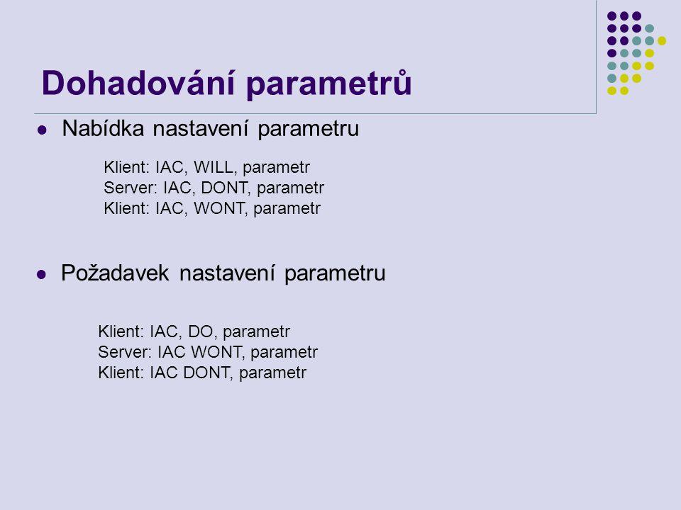 Dohadování parametrů Nabídka nastavení parametru Klient: IAC, WILL, parametr Server: IAC, DONT, parametr Klient: IAC, WONT, parametr Požadavek nastave