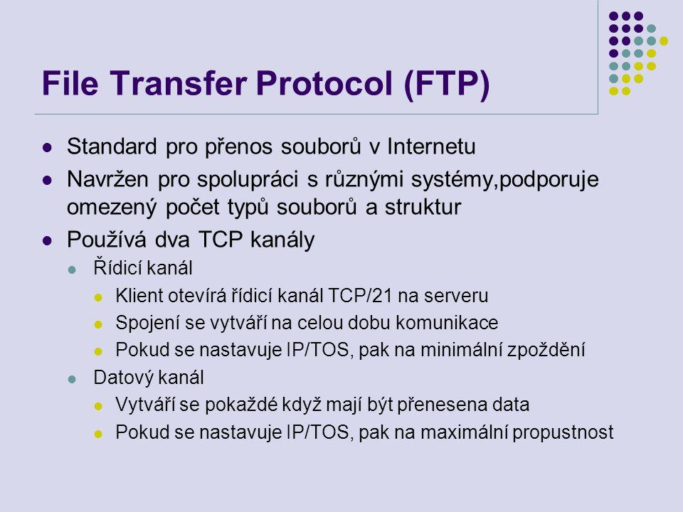 """File Transfer Protocol (FTP) Samostatný řídicí kanál – """"out of band control – řízení mimo pásmo FTP server si pamatuje stav: aktuální adresář, předchozí ověření Dovoluje FTP klientovi vytvořit přenos dat mezi dvěma servery"""