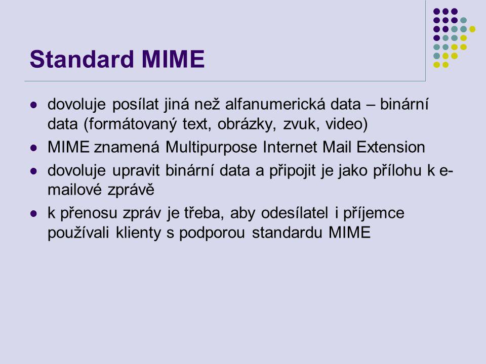 Standard MIME dovoluje posílat jiná než alfanumerická data – binární data (formátovaný text, obrázky, zvuk, video) MIME znamená Multipurpose Internet