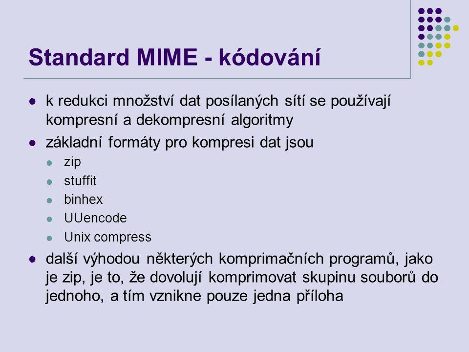 Standard MIME - kódování k redukci množství dat posílaných sítí se používají kompresní a dekompresní algoritmy základní formáty pro kompresi dat jsou