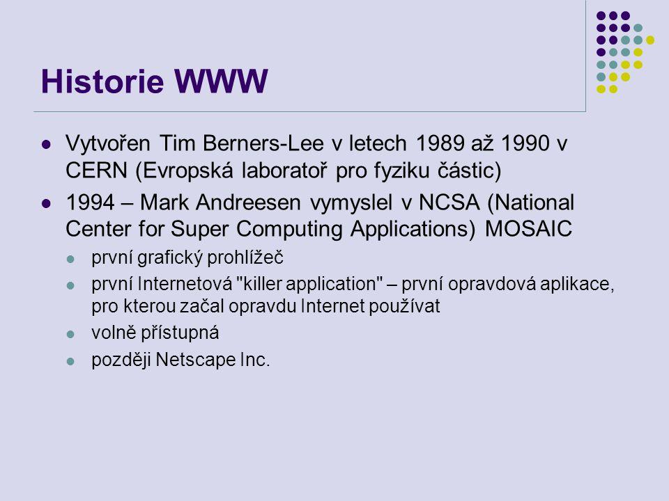 Historie WWW Vytvořen Tim Berners-Lee v letech 1989 až 1990 v CERN (Evropská laboratoř pro fyziku částic) 1994 – Mark Andreesen vymyslel v NCSA (Natio