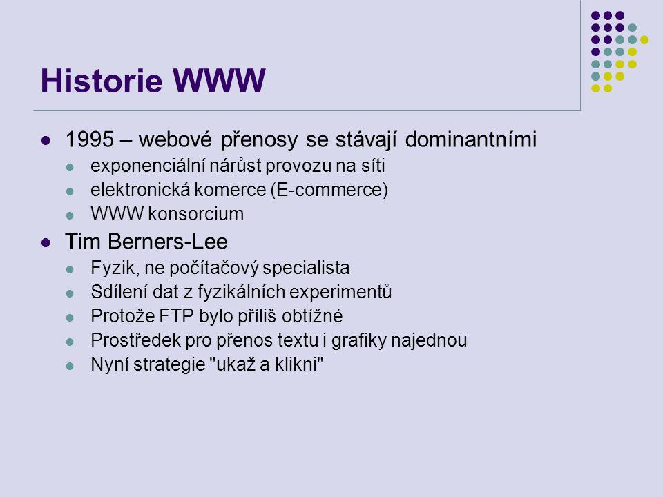 Historie WWW 1995 – webové přenosy se stávají dominantními exponenciální nárůst provozu na síti elektronická komerce (E-commerce) WWW konsorcium Tim B