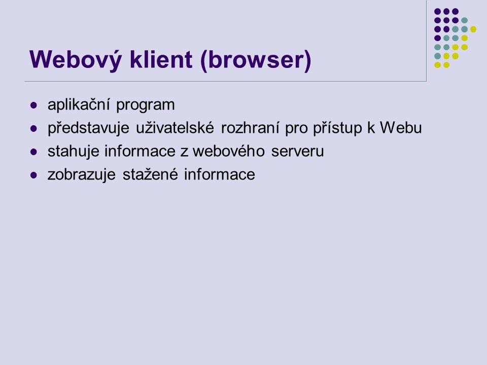 Webový klient (browser) aplikační program představuje uživatelské rozhraní pro přístup k Webu stahuje informace z webového serveru zobrazuje stažené i