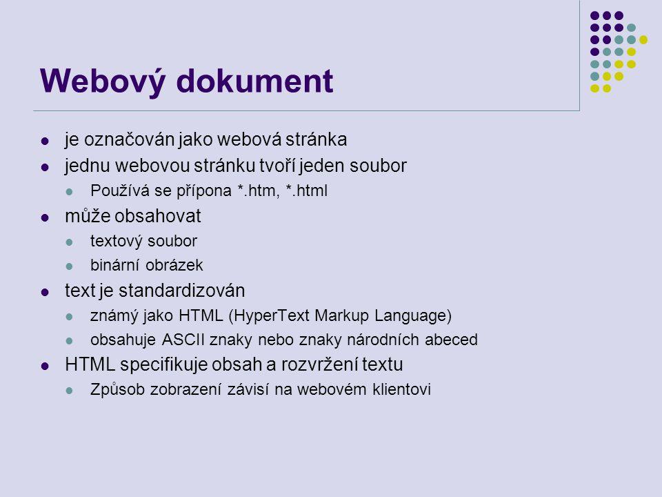 Webový dokument je označován jako webová stránka jednu webovou stránku tvoří jeden soubor Používá se přípona *.htm, *.html může obsahovat textový soub