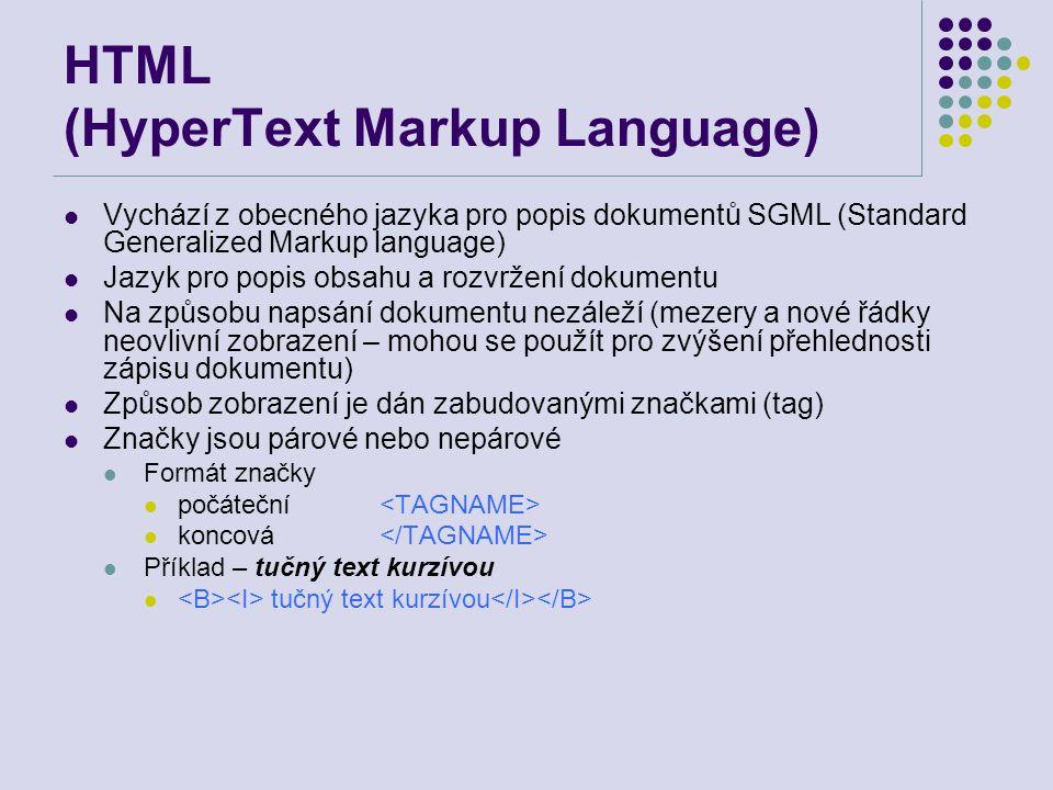HTML (HyperText Markup Language) Vychází z obecného jazyka pro popis dokumentů SGML (Standard Generalized Markup language) Jazyk pro popis obsahu a ro