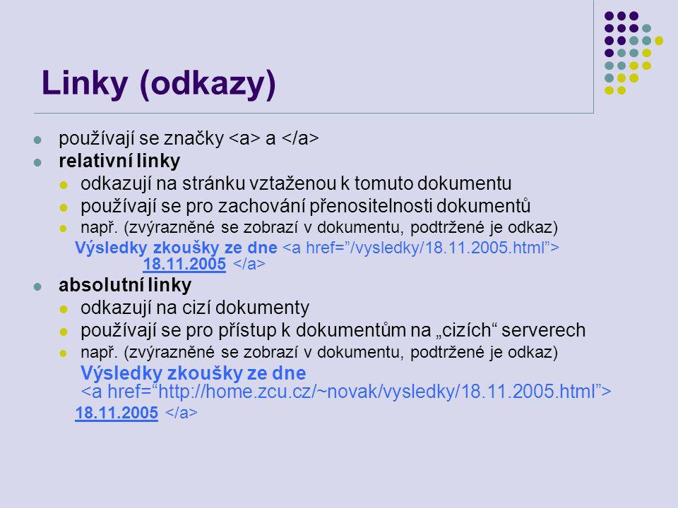 Linky (odkazy) používají se značky a relativní linky odkazují na stránku vztaženou k tomuto dokumentu používají se pro zachování přenositelnosti dokum