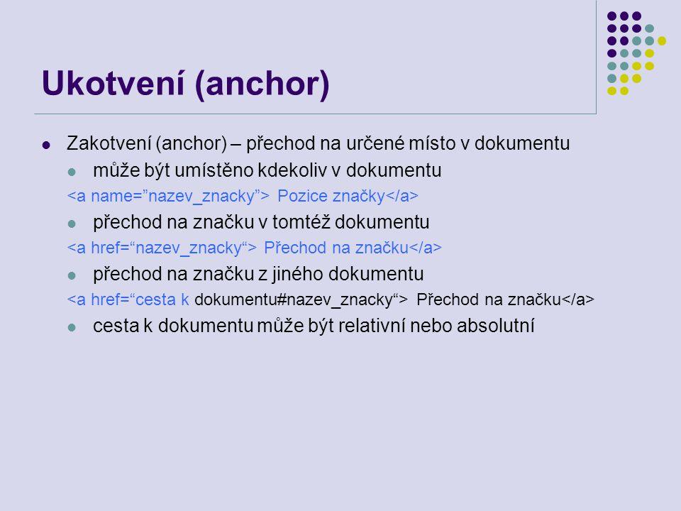 Ukotvení (anchor) Zakotvení (anchor) – přechod na určené místo v dokumentu může být umístěno kdekoliv v dokumentu Pozice značky přechod na značku v to