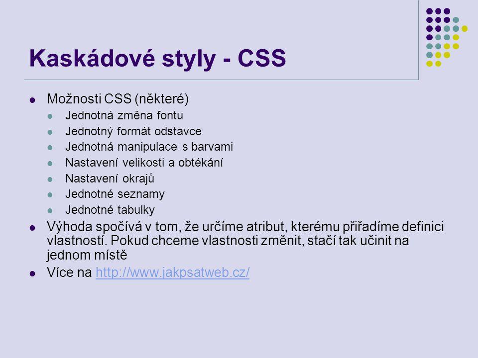 Kaskádové styly - CSS Možnosti CSS (některé) Jednotná změna fontu Jednotný formát odstavce Jednotná manipulace s barvami Nastavení velikosti a obtékán