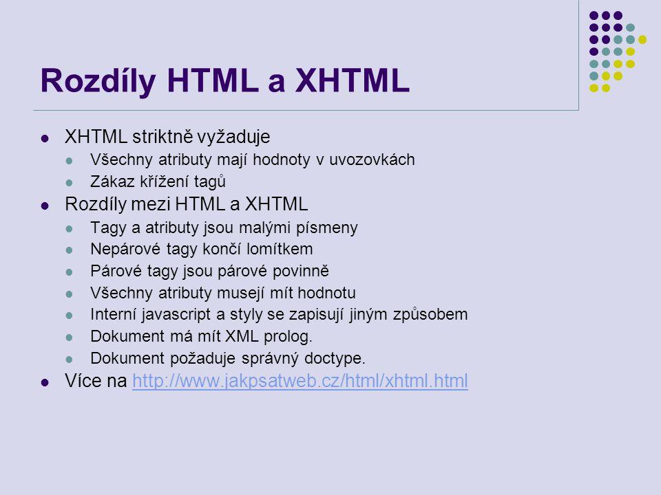 Rozdíly HTML a XHTML XHTML striktně vyžaduje Všechny atributy mají hodnoty v uvozovkách Zákaz křížení tagů Rozdíly mezi HTML a XHTML Tagy a atributy j