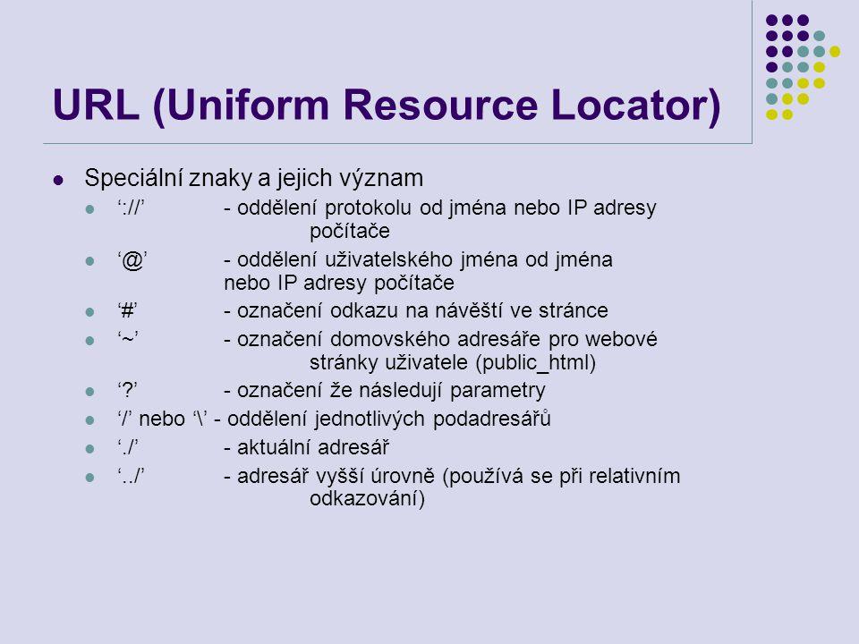 URL (Uniform Resource Locator) Speciální znaky a jejich význam '://'- oddělení protokolu od jména nebo IP adresy počítače '@'- oddělení uživatelského